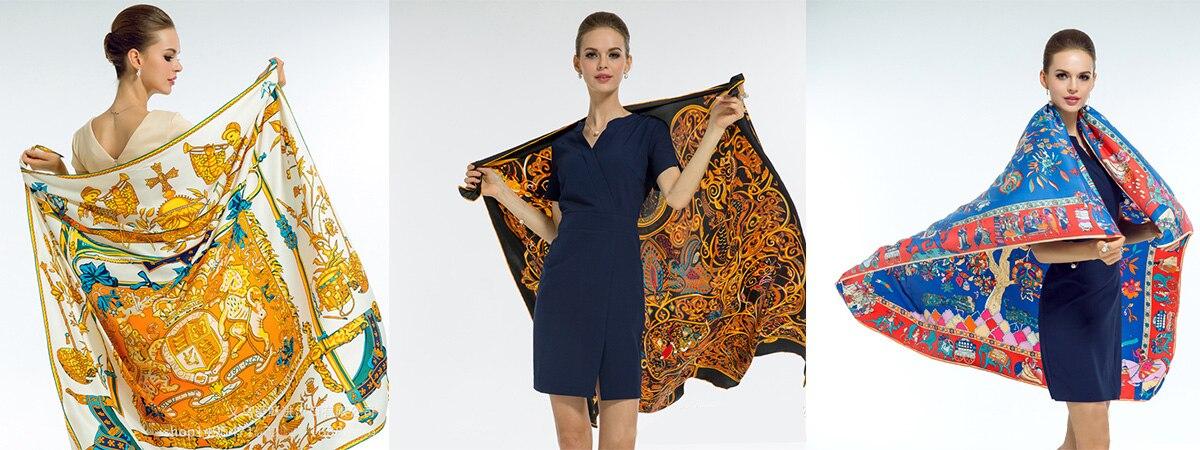 130 cm Foulards. 130 cm Nouveau Sergé Foulard De Soie Design De Mode  Bandana Chaîne Impression Hiver Écharpe Femmes Châles De Luxe Marque ... 390892b6f7c