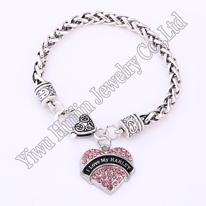Fashion Rhodium Plated With Sparkling Crystals I Love My Harley Heart Charm Bracelet Lobster-claw-clasps Hot Selling Chain & Link Bracelets Bracelets & Bangles
