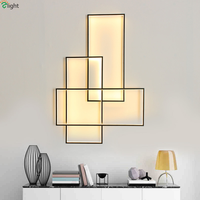 Modern Rectangle Aluminum Dimmable Led Wall Lamp Living Room Lights Bedroom Light Fixtures Sconce