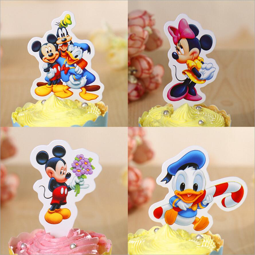 50pcs Cartoon Mickey Mouse Cupcake Toppers Cartoon Theme Birthday Party Baby Shower Party Cake Decorations