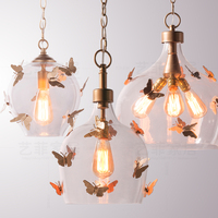 american retro iron glass ball butterfly pendant light balcony corridor bedroom restaurant children's room girls lamp
