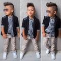 Красивый моды детской одежды наборы мальчиков ковбой костюм 3 шт. костюм рубашка + пальто + комбинезон Европа и Америка джентльмен мальчики наборы