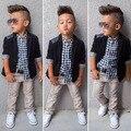 Moda bonito roupa dos miúdos conjuntos meninos cowboy terno 3 pcs terno camisa + casaco + macacão cavalheiro Da Europa e da América meninos conjuntos