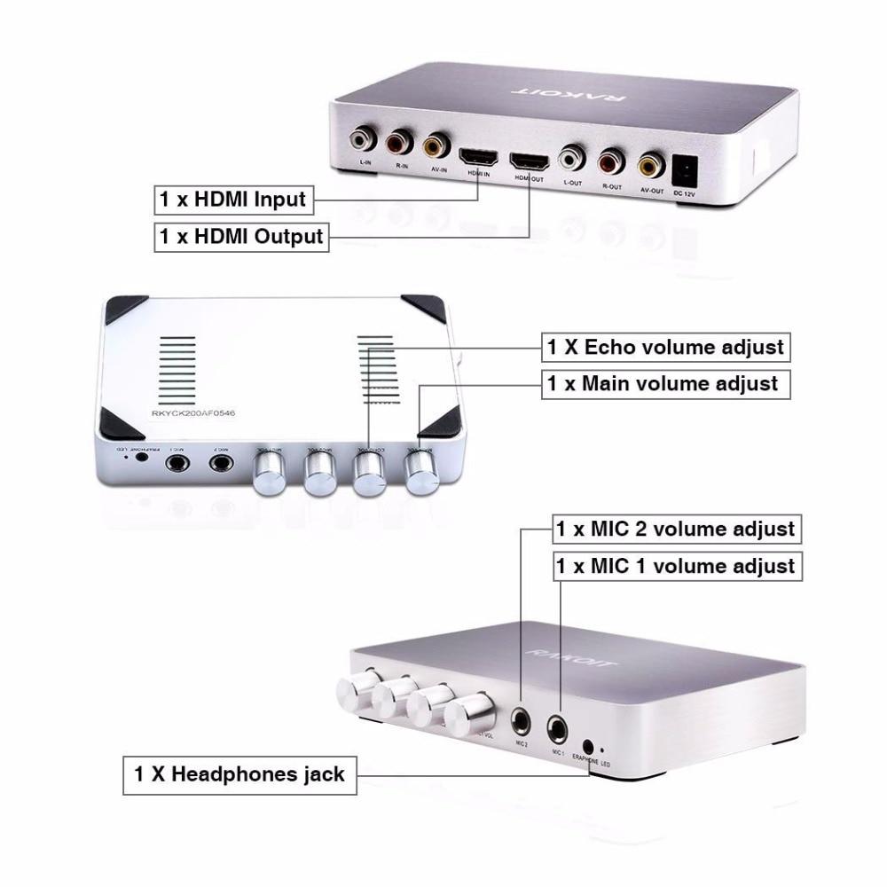 Tragbare Digital Stereo Audio Echo System Maschine HDMI Karaoke Mixer Verstärker mit 2 Mikrofone Arbeitet mit 4K/2K TV PC Heimkino