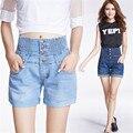 2016 Nova Moda Mulheres Hot Sale Cintura Alta Shorts Jeans Femininos de Verão Maré Solta Elástico Na Cintura Fina Grandes Estaleiros C615