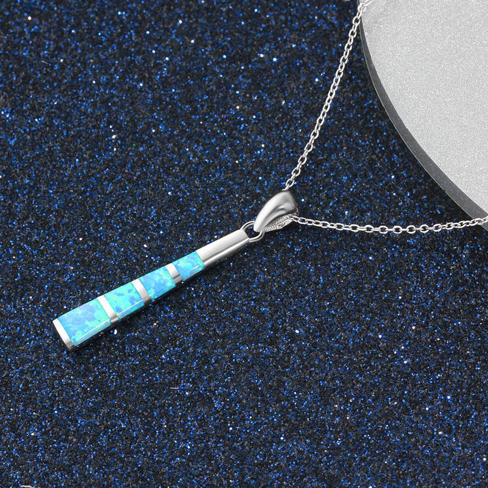 2018 تصميم الأزياء والمجوهرات الأزرق النار أوبال 925 فضة أوبال قلادة للنساء الفتيات بالجملة والتجزئة شحن مجاني