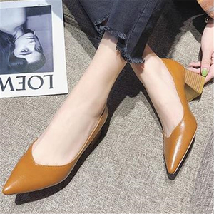 Image 4 - Pumps European style time simple comfortable high heels 2018 new pointed thick heel shoes pu single shoes wild womens shoes