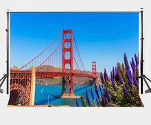 150x220cm Golden Gate Bridge Backdrop Sunny Day Lavender Flowers Photography Background Natural Scenery Shooting Props