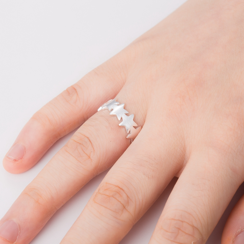 SMJEL New Fashion Tiny Star Trail Stackable Wedding Rings Finger Authentic Jewelry Birthay Gift SYJZ094