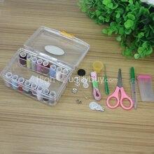 Удобное устройство вдевания нитки иглы рулетка ножницы для хранения швейный набор в коробке металла хлопка Пластик коробка для шитья Набор в ящике для хранения