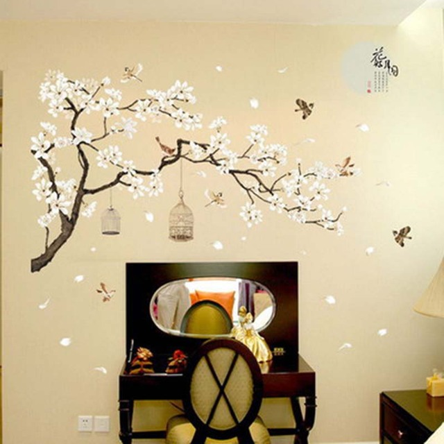 Chinese style Plum tree plants flower bird cage bedroom background decorative stickers home wall stickers decal art mural 1PC