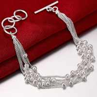 New Simple Style 925 Silver Fashion Scrub Bead Bracelets for Women Jewelry Birthday Gifts