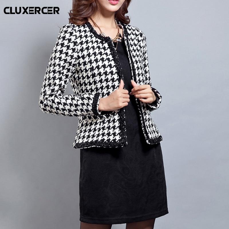 Spring autumn female jacket 2018 new fashion checkered slim tweed short women clothing elegant office lady jacket Plus size 4XL in Jackets from Women 39 s Clothing