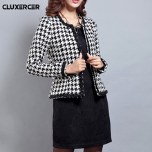 CLUXERCER Brand black and white plaid blazer women suit jackets tweed outwear blazers fenimino