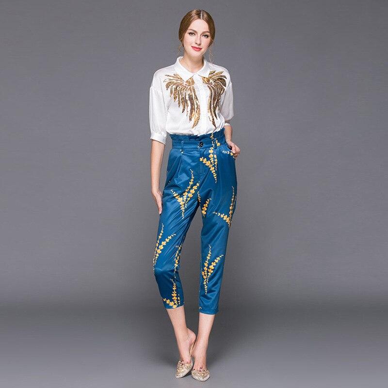 Kadın Giyim'ten Kadın Setleri'de Yüksek kalite 2019 sonbahar kıyafet stilist kadın yaka sequins işlemeli gömlek baskılı + 7 dakika pantolon tarzı 2 parça setleri'da  Grup 3