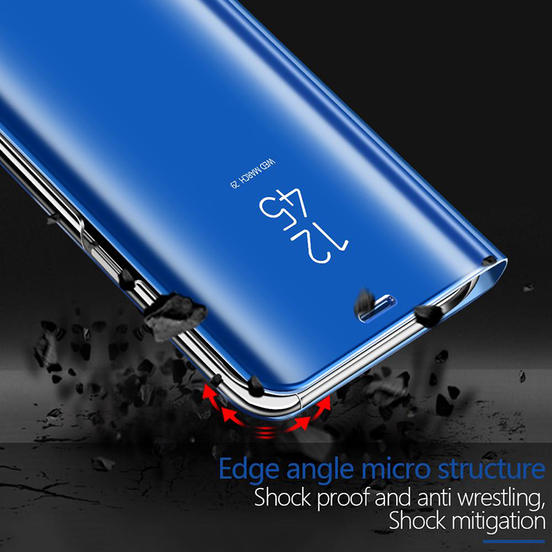 luxury Smart Mirror Flip Phone Case For Huawei Nova 4 Clear View Cover For Huawei Nova 4E 3E 3i 3 2i Protective Kickstand Case in Fitted Cases from Cellphones Telecommunications