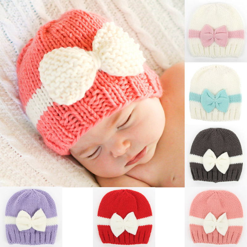 Cute Newborn Girls Boys Comfy Bowknot Cap Warm Knitted Beanie Hat Photography Props FS99