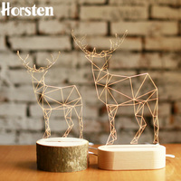 Horsten 3D Deer Wooden Desk Lamp Elk Creative Table Lights Handcraft LED Night Light Bedroom Christmas Toy Gift USB Plug