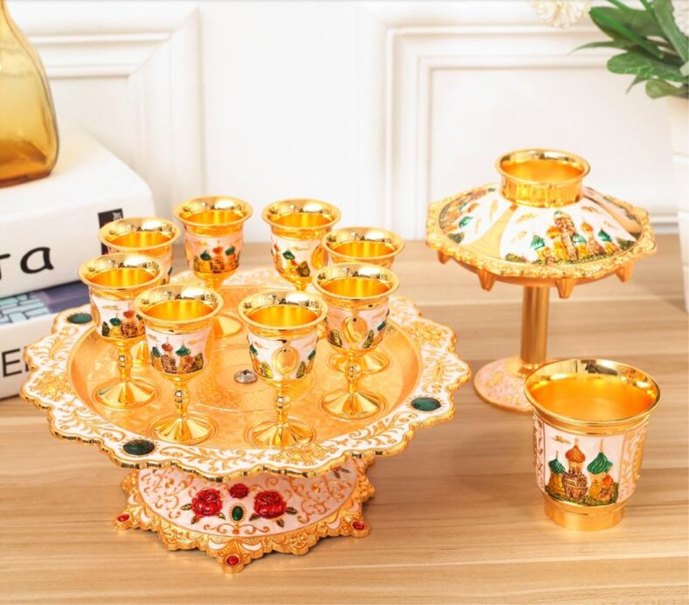 Creative Metal Sherbet Separator Cup Holder Gold Fashion Cup Holder Sherbet Rack with 6 PCS Cup Home Decoration 5 Color