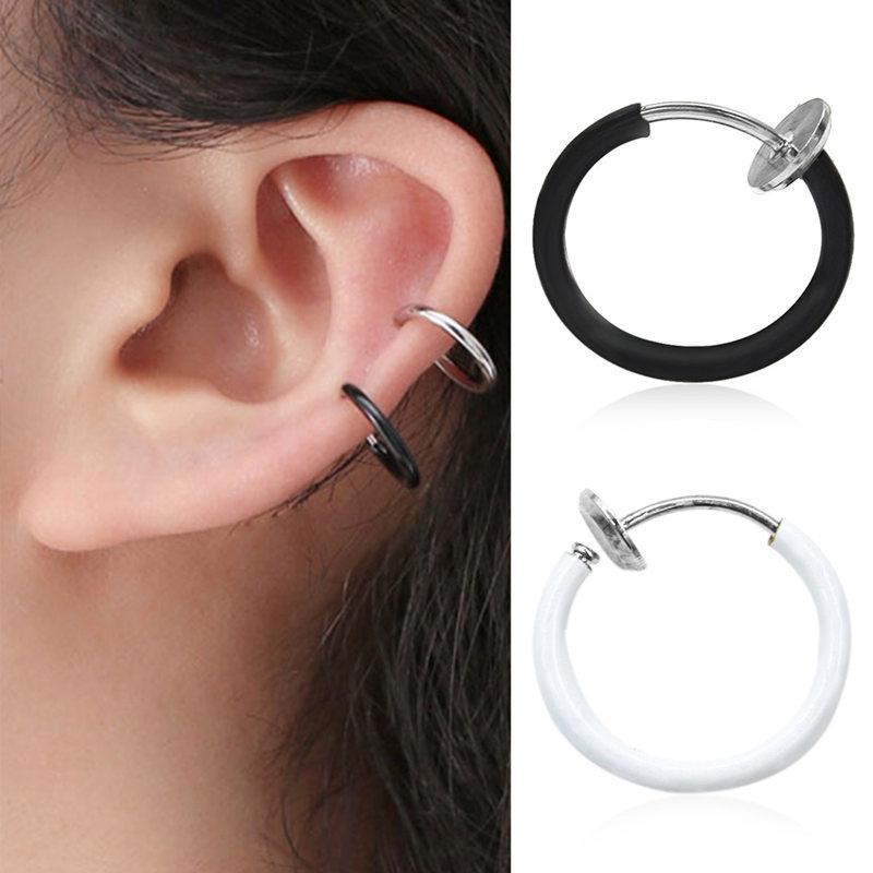 4pcs Hoop Nose Rings Clip on Ear Lip Navel Body Piercing Fake Percing Jewelry