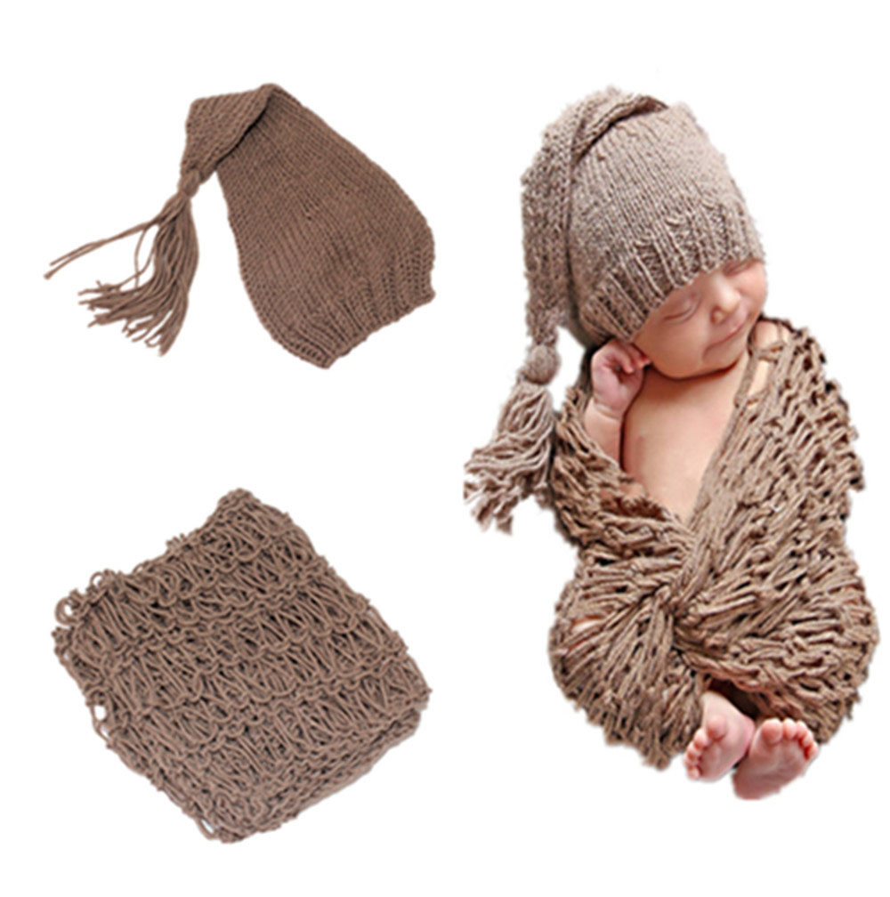 2016 New Fashion Brown color Knitted Baby hat caps and Blanket Set Newborn Photo Props Infant Photo Blanket and Beanies
