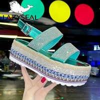 LazySeal Buty na koturnie sandały Damskie letnie klamra płaskie plaży Bling obuwie 2019 modne Buty kobiety dla pań Buty Damskie
