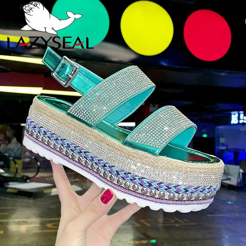 LazySeal, zapatos de plataforma, sandalias de mujer, hebilla de verano, calzado plano ostentoso de playa, zapatos de moda 2020 para mujer, Buty Damskie Zapatillas de deporte a la moda para mujer, suela gruesa, zapatos de plataforma para mujer, zapatillas masculinas gruesas de celebridad Web, zapatillas masculinas para mujer, Buty Damskie