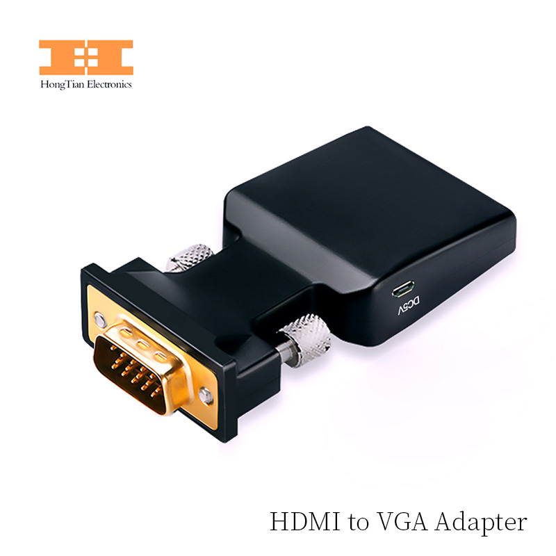 VGA to HDMI Converter hdmi vga adapter with Video Output 1080P HD 35mm AUX Audio Port for PC Laptop HDMI to VGA
