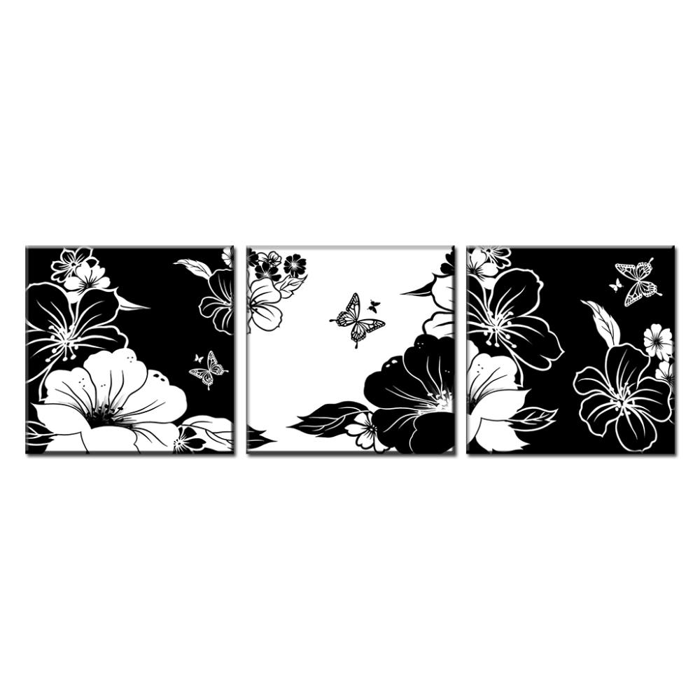 3 pcsset black and white flower with butterfly art canvas painting prints on canvas abstract picture for living room wall decor in painting calligraphy