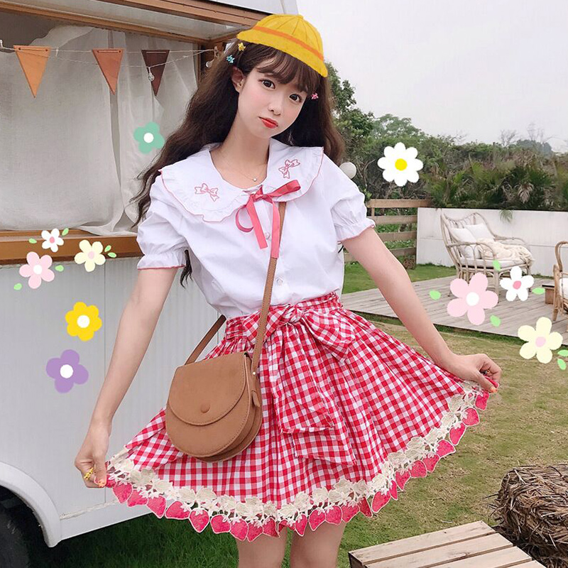 Summer Women's Japanese Tenes Girls Peter Pan Collar Bow Tie Shirt + Sweet Plaid Skirt Lolita Style Sweet Set