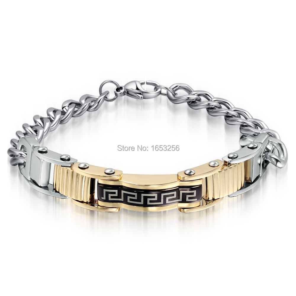 High Quality Bling Jewlery New Design Black Gold Stainless Steel Great Wall  Logo Link Chain Id