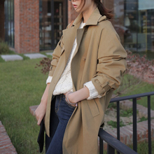 2016 spring new arrival women beige trenchs coats loose oversized boyfriend style windbreaker double breasted casual out001