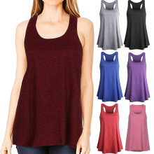Women Sleeveless Top Sport yogic Top Solid Color Flowy Racerback Tank Top Vest Top Femme solid color cotton tank top