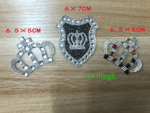 Crown Rhinestone Patches Hot Fix Motif Children Baby Suit Crystal iron Glass Patch Applique For Clothes