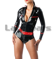 Latex Military Leotard Latex Rubber Uniform Suit Bodysuit With Belt Latex Exotic Costumes