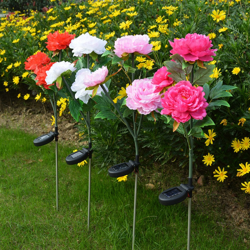 Solar LED  Peony Flower Light Color Energy Saving Lawn Lamps Outdoor Garden Path Yard Decoration 3LED Flower Party Lamp