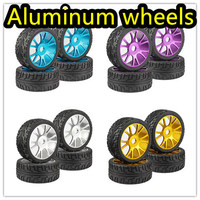 4PC RC 1 8 On Road Car Buggy Tires Metal Aluminum Alloy Wheel Rim Rubber Tyre