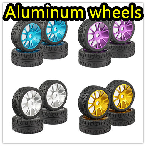 4PC RC 1/8 On-Road Car Buggy Tires Metal Aluminum Alloy Wheel Rim Rubber Tyre high quality for HSP 94760 94763 94766 94860 4pcs 1 10 on road rubber tyre for hsp tamiya losi rc car tyre