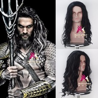 Movie Justice League Aquaman Cosplay Wig 24 Curly Heat Resistant Synthetic Hair Costume Men Party Role Jason Momoa Wigs Cap