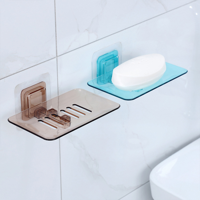 1PCS Wall Mounted Soap Dishes Plastic Bathroom Soap Box Organizer Hanging Shelf Sponge Storage Rack Bathroom Accessories