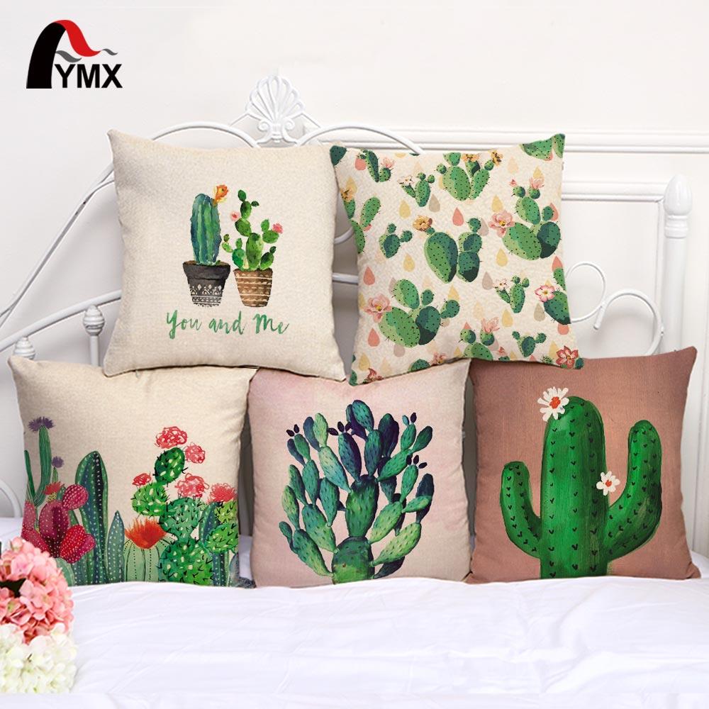 Милые цветные хлопковые льняные подушки с принтом кактуса, чехлы для автомобиля, спальни, дивана, 18 дюймов, наволочки, креативные наволочки для украшения дома