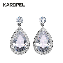 AAA Zircons Classic Water Drop Shaped Cubic Zirconia Crystal Bridal Earrings Wedding Jewelry For Brides Bridesmaid gulicx zircons elegant drop aaa cubic zirconia long big crystal bridal earring for wedding jewelry