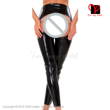 Sexy Black spanking Latex Leggings butt Less Open chaps Rubber pants leg Gummi Trousers Long bottoms plus size XXXL