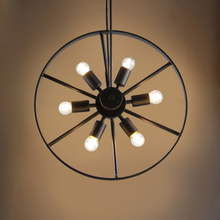 American country industrial wind wheel round chandelier LOFT bar cafe bar restaurant retro light цена