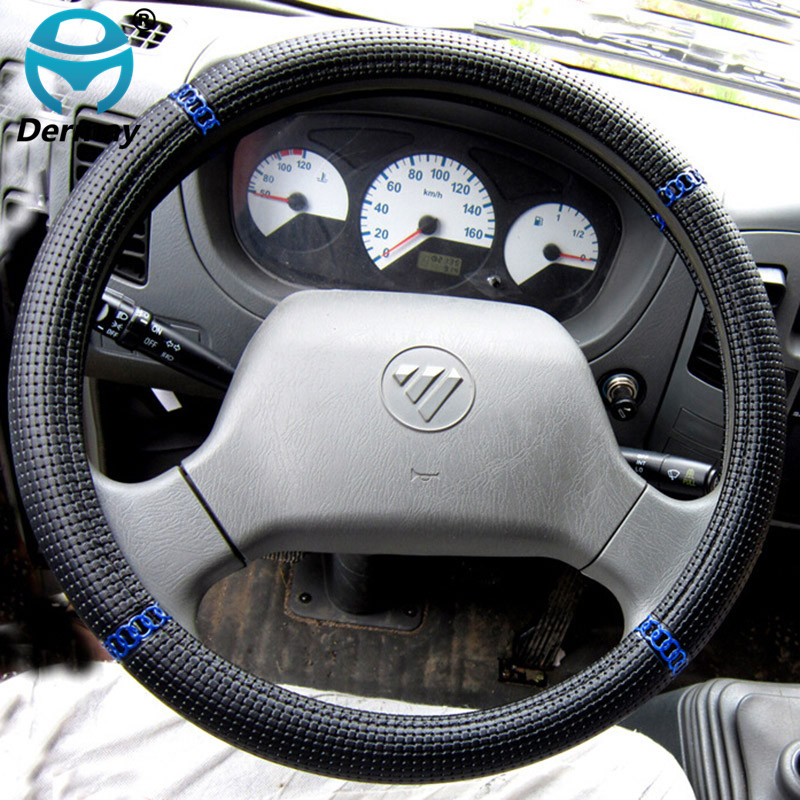 Truck Bus Vehicle Car Woven Leather Steering Wheel Cover for Volvo SCANIA Mercedes Man Isuzu Diameter -36 38 40 42 45 47 50cm
