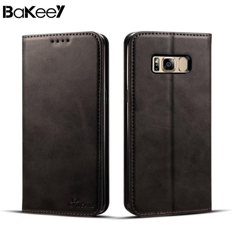Luxury Bakeey Full Body Magnetic Flip Wallet Card Slot Case PU Leather For Samsung G-alaxy S8 Black Khaki Red