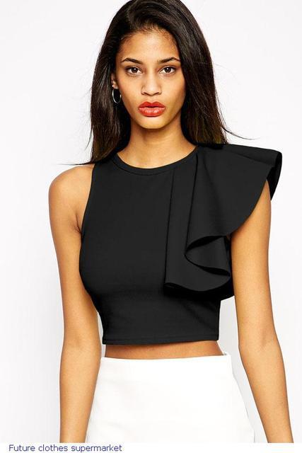 2017 Top Sales Women's T shirt Black One-shoulder Ruffle Crop Top LC25434 camisetas ropa mujer camisa feminina