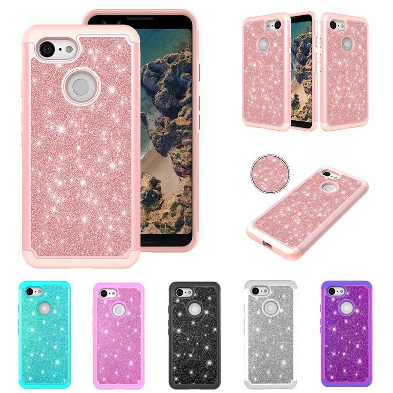 Phone Case For Google Pixel 3 Case Bling Glitter Silicon And PC Back Cover For Google Pixel 3 Shockproof 2 In 1 Armor Funda