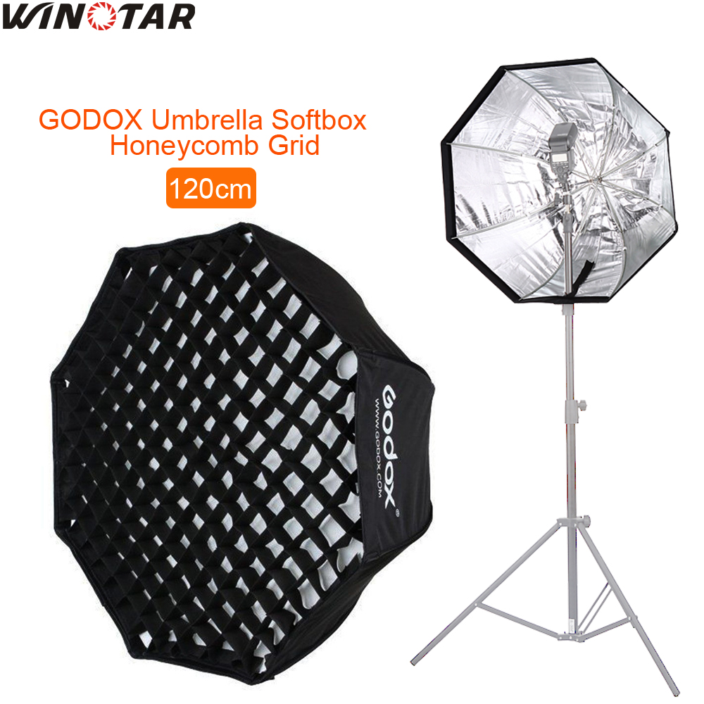 GODOX 120cm / 48 Portable Foldable Octagon Umbrella Softbox Photo Studio Flash Speedlite Diffuser Reflector with Honeycomb Grid godox 120cm octagon flash speedlite studio photo light soft box w grid honeycomb umbrella softbox bowens mount