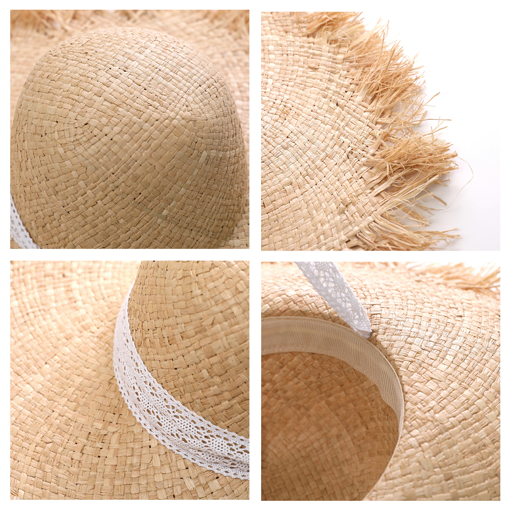 JIYOUOU Lace Strap Straw Hat Bow Wide Grass Female Summer Cap Beach Visor Outdoor Holiday Beach Sun Protection Hat Collapsible